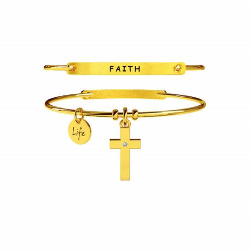 """Ora hai la forza per credere in ciò che sei e che sarai. La tua fede è ciò che ti accompagna in ogni scelta che fai, che sorregge i tuoi passi e ti permette di raggiungere sempre la meta. Ecco il significato del bracciale """"Croce - Fede"""" di Kidult realizzato in acciaio e disponibile in due differenti versioni."""
