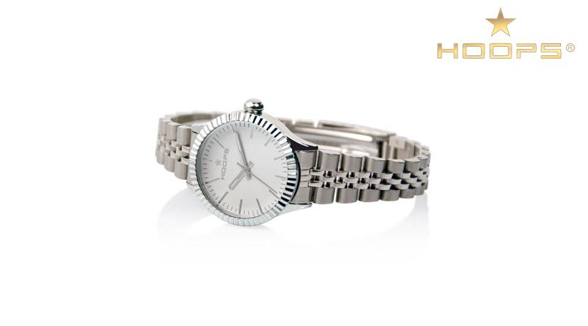 Orologio Donna Luxury Hoops 2560L08 Orologio della collezione Luxury. Questo orologio è realizzato in acciaio argentato , maglia rolex. Questo modello ha il quadrante bianco con indici a bastoni applicati. Resistente all'acqua.