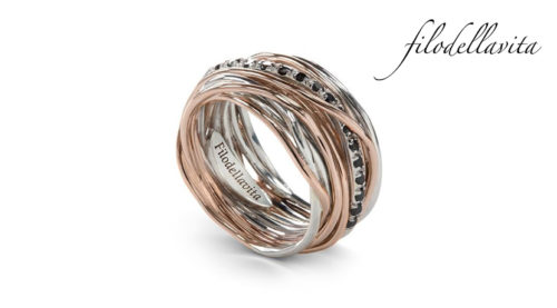 Anello Filodellavita 13 fili ANR13ARBN in Oro rosa 9 kt, Argento 950 al Palladio e Diamanti Black taglio brillante ct 0,21. Lavorazione artigianale italiana.