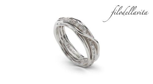Anello Filodellavita 7 fili in argento 950 al Palladio con Diamanti Bianchi ct 0,21. Lavorazione artigianale italiana.