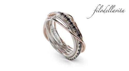 Anello Filodellavita 7 fili AN7ARBN in Oro rosa 9 kt, Argento 950 al Palladio e Diamanti Neri ct 0,21. Lavorazione artigianale italiana.