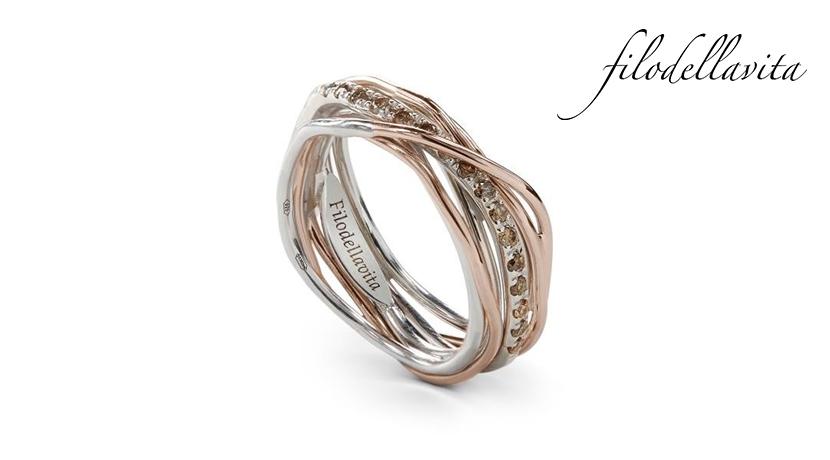 Anello Filodellavita 7 fili AN7ARBR in Oro rosa 9 kt, Argento 950 al Palladio Diamanti Brown ct 0,21. Lavorazione artigianale italiana.