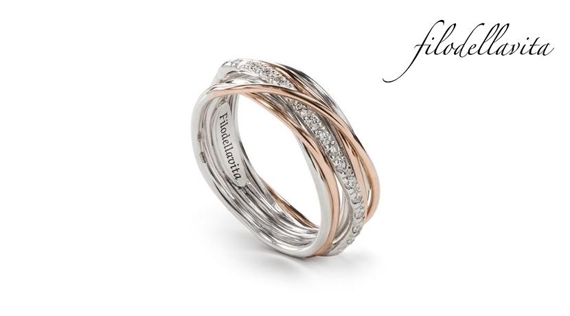 Anello Filodellavita 7 fili AN7RBT in Oro rosa 9 kt, Argento 950 al Palladio e Diamanti Bianchi ct 0,21. Lavorazione artigianale italiana.