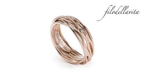 Anello Filodellavita 7 fili in Oro rosa 9 kt. Lavorazione artigianale italiana.