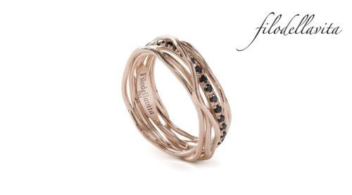Anello Filodellavita 7 fili - AN7RBN in Oro rosa 9 kt e Diamanti Neri ct 0,18. Lavorazione artigianale italiana.