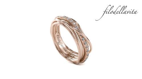 Anello Filodellavita 7 fili in Oro rosa 9 kt e Diamanti Bianchi ct 0,18. Lavorazione artigianale italiana.