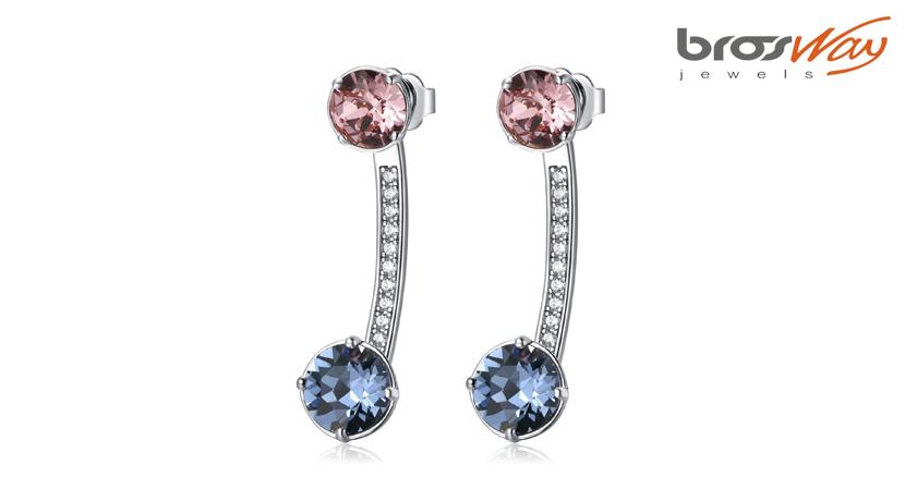 Orecchini Affinity pendenti Brosway in ottone rodiato, cristalli colorati Swarovski® Elements e zirconi.