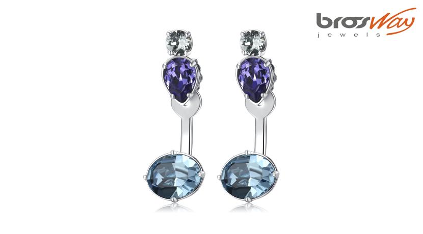 Orecchini Affinity 2 in 1 Brosway realizzati in ottone, pvd acciaio e cristalli colorati Swarovski® Elements