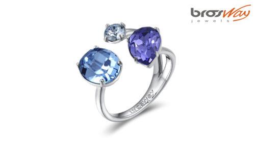 Anello Affinity Brosway in ottone in pvd bianco e cristalli colorati Swarovski® Elements