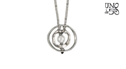 Collana Uno de 50 in argento modello lungo con due anelli
