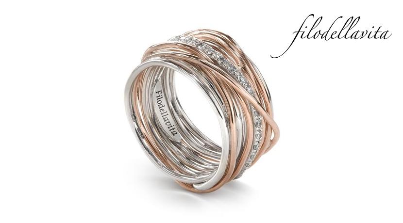 Anello Filodellavita 13 fili ANR13ARBT in Oro rosa 9 kt, Argento 950 al Palladio e Diamanti Bianchi taglio brillante ct 0,21. Lavorazione artigianale italiana.