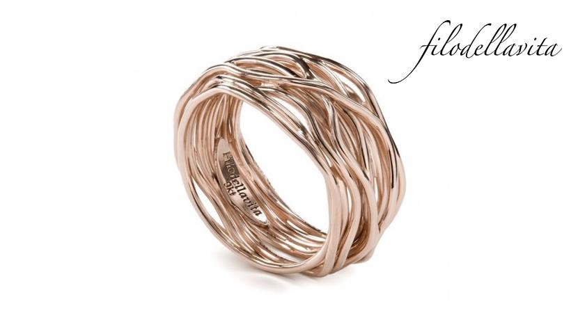 Anello Filodellavita 13 fili ANR13 in Oro rosa 9 kt. Lavorazione artigianale italiana.