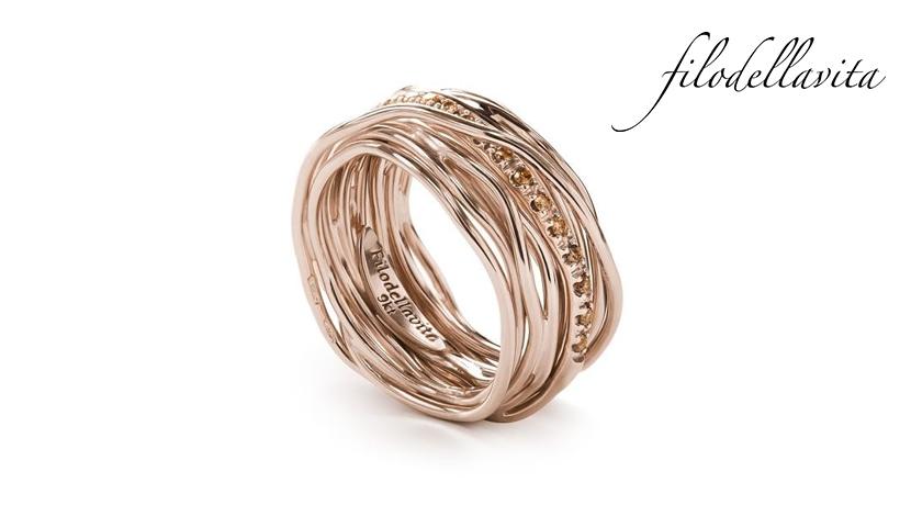 Anello Filodellavita 13 fili ANR13RBR in Oro rosa 9 kt e Diamanti Brown taglio brillante ct 0,18. Lavorazione artigianale italiana.