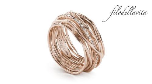 Anello Filodellavita 13 fili ANR13RBT in Oro rosa 9 kt e Diamanti Bianchi ct 0,18. Lavorazione artigianale italiana