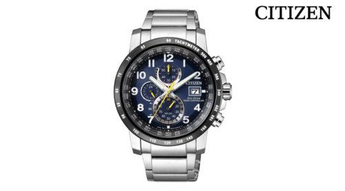 Orologio Cronografo Citizen AT8124-91L, collezione Radiocontrollato. Movimento Eco-Drive (a carica luce infinita) con riserva di carica di 10 mesi ed indicatore livello di carica sul quadrante.