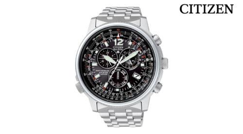 Orologio Cronografo Citizen Pilot AS4020-52E, movimento Eco Drive (a carica Luce Infinita) con riserva di carica di 1 anno.