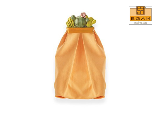 Portapane Egan con sacchetto in cotone naturale e cerniera sul retro. Fodera lavabile e inserto in ceramica made in Italy dipinta a mano. Misure cm 20x50