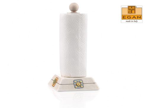 Portarotolo Egan linea Simboli. Base realizzata in ceramica lavorata a mano. Misure cm 16x32.