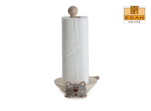 Portarotolo gatto Egan da tavolo realizzato con una base in ceramica lavorata, disegnata e dipinta a mano