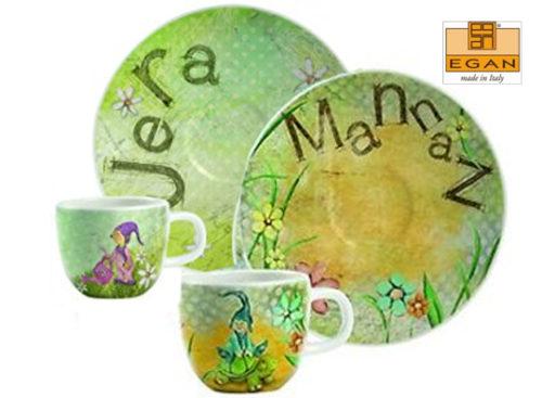 Set 2 tazzine Egan Onnis in ceramica raffiguranti gli gnomi Jera e Mannaz