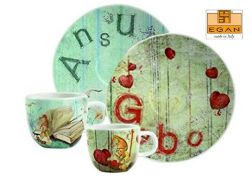 Set 2 tazzine Egan Onnis composta dagli gnomi Gebo e Ansu