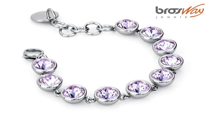 Il bracciale Brosway B-Tring Viola è realizzato in acciaio 316L e cristalli violet Swarovski® Elements. Referenza articolo BTN12.