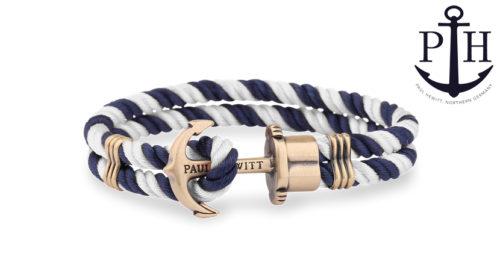 Bracciale Paul Hewitt Messis Nylon in stile marinaro disponibile in 7 misure e 6 diversi colori. Il bracciale è chiuso con un fermaglio a forma di ancora.