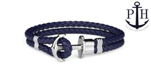 Bracciale Paul Hewitt Phrep Ip Acciaio Inox in stile marinaro, disponibile in sette misure e diverse colorazioni. Il bracciale è chiuso con un fermaglio a forma di ancora, mentre il cinturino è in fibbra di cuoio.
