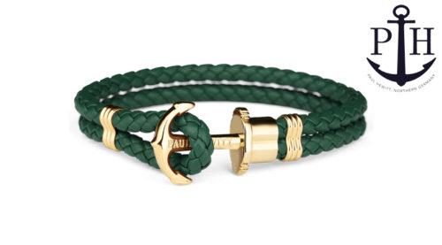 Bracciale Paul Hewitt Phrep Ip Oro in stile marinaro, disponibile in sette misure e diverse colorazioni. Il bracciale è chiuso con un fermaglio a forma di ancora, mentre il cinturino è in fibbra di cuoio.