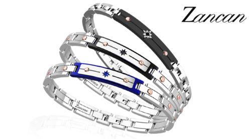 Il bracciale Hi Teck Zancan è realizzato in acciaio ipoallergenico 316L con placca centrale con rosa dei venti. Chiusura a moschettone con logo Zancan.