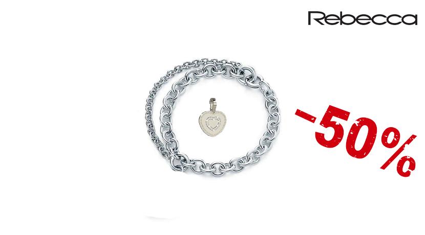 Il bracciale Rebecca con cuore è un bracciale a maglie con una farfalle e un cuore pendenti e una perla di fiume rosa sulla chiusura