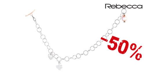 Il bracciale Rebecca Mon Amour Farfalla è un bracciale a maglie con una farfalle e un cuore pendenti e una perla di fiume rosa sulla chiusura. Referenza BMOBXB08.