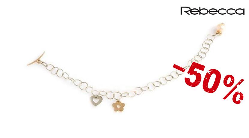 Il bracciale Rebecca Mon Amour è un bracciale a maglie con pendenti fiore e cuore e perla di fiume rosa. Referenza BMOBXB06.