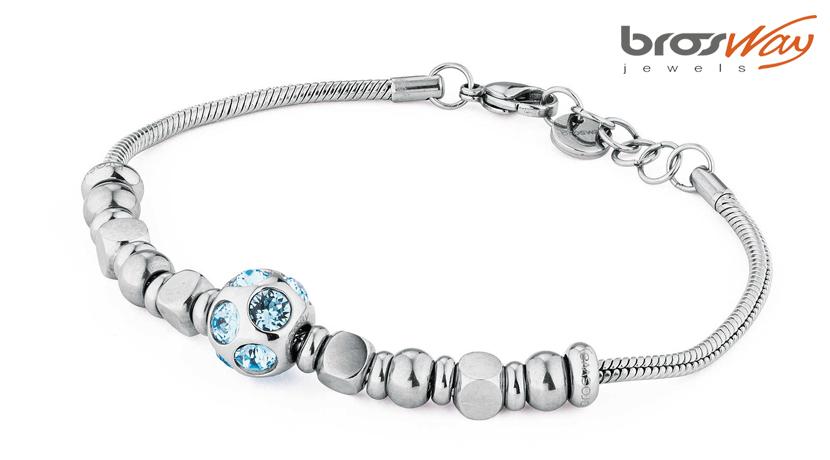 Il bracciale Brosway Tres Jolie Mini è realizzato in acciaio con dettagli in pvd oro e swarovski. La referenza è BTJMS612.