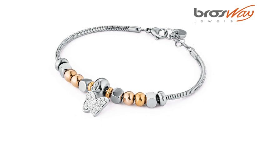 Il bracciale Brosway Tres Jolie Mini è realizzato in acciaio con dettagli in pvd oro e swarovski. La referenza è BTJMS613.