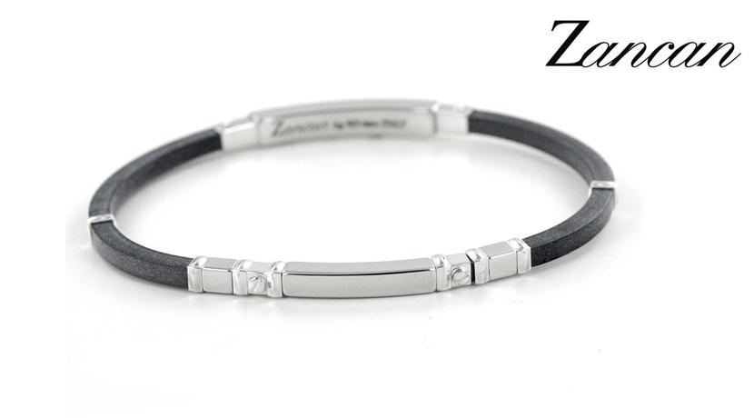 e89dd671ea3817 Bracciale da uomo in argento e caucciù collezione ROBERTINOX gioielli Zancan.  Bracciale in caucciù con
