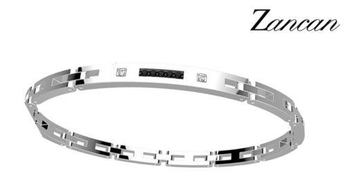 Il bracciale Zancan Hi Teck è realizzato in acciaio ipoallergenico 316L. Chiusura a moschettone con logo Zancan. Lunghezza 20,5 cm regolabile mediante asportazione delle maglie.