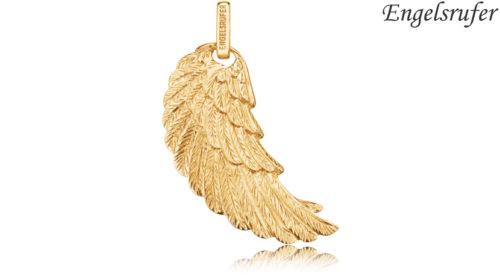 Ciondolo Ala Engelsrufer gold realizzato in argento 925 dorato colore oro con occhiello, raffigurante l'ala di un angelo. Disponibile nelle misure S - M - L
