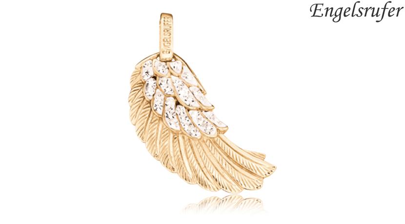 Ciondolo Ala Engelsrufer gold con cristalli realizzato in argento 925 dorato colore oro giallo, 44 cristalli e occhiello, raffigurante l'ala di un angelo. Dimensioni 29 mm.