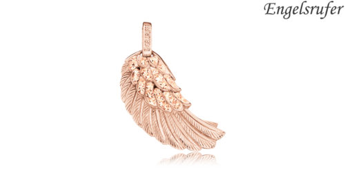Ciondolo Ala Engelsrufer rosè con cristalli realizzato in argento 925 dorato colore oro rosso, 44 cristalli e occhiello, raffigurante l'ala di un angelo. Dimensioni 29 mm.