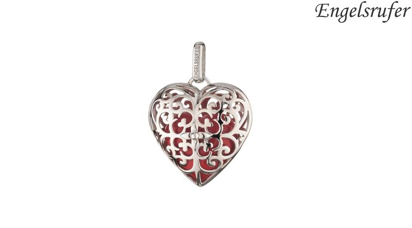 Charm Chiama Angeli Cuore Engelsrufer con cuore interno che suona di colore rosso realizzato in argento 925 rodiato con occhiello.