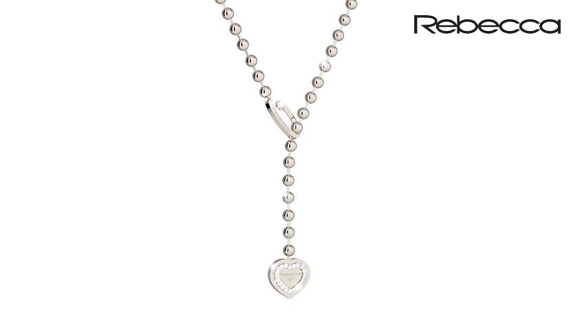 La Collana Rebecca Hollywood Pearl è realizzata in bronzo e pietre. È una collana saliscendi a sfere con cuore arricchito da un pavè di zirconi