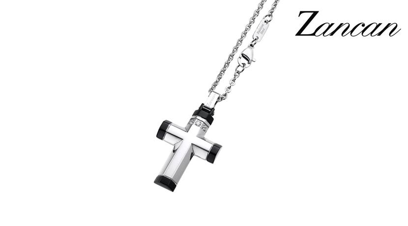 Collana Zancan con croce in acciaio facente parte della collezione Hi Teck e realizzata in acciaio 316L ipoallergenico e ciondolo a croce con zaffiri