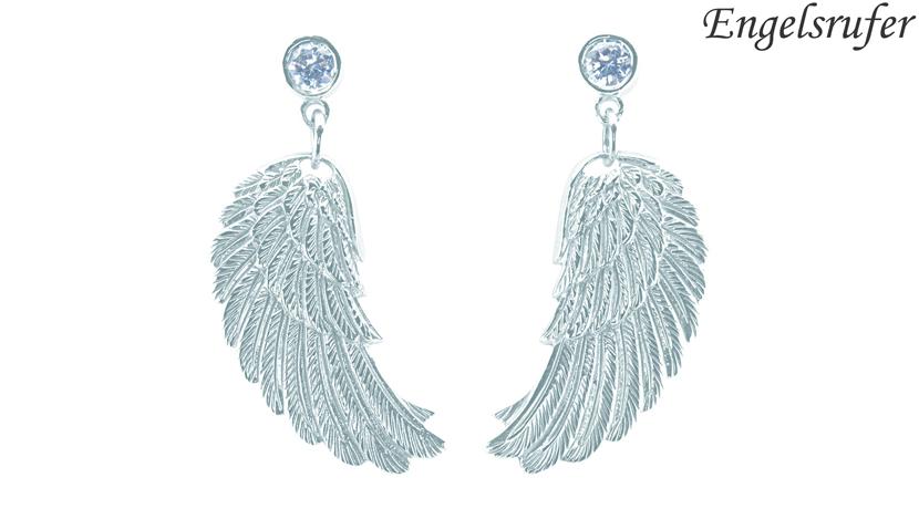 Gli orecchini Ali d'Angelo Engelsrufer sono realizzati in argento 925 rodiato con zirconi. Modello pendente che raffigura le ali di un angelo. Lunghezza: 20 mm. Referenza ERE-WS.