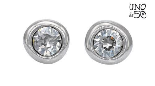 Orecchini Uno de 50 Ego PEN0461CRSMTL0U in argento interamente realizzati a mano con cristallo bianco al centro.