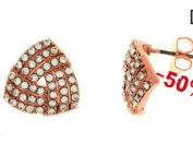 Gli orecchini Unoaerre Luxury Wedding rosè sono realizzati in ottone rosè e zirconi.
