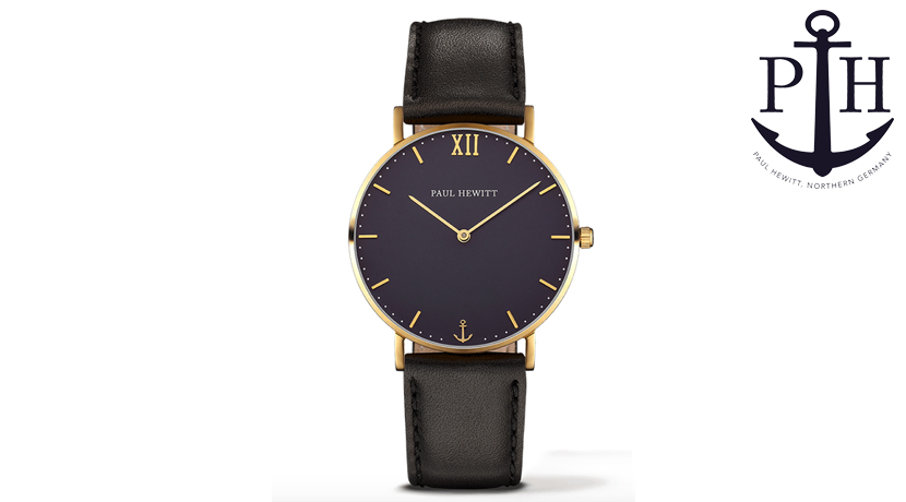 L'orologio Paul Hewitt Sailor Gold Blue Lagoon Nero è elegante e moderno. Il modello Sailor è un accessorio di classe adatto in ogni occasione