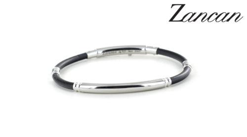 Bracciale Zancan da uomo in argento e caucciù ESB026B-N