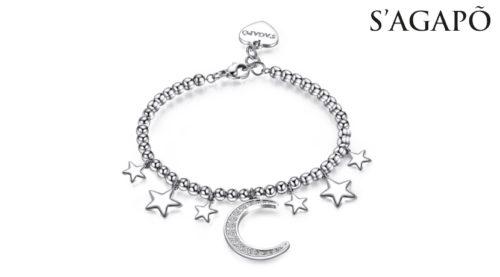 Bracciale New Moon S'Agapò SNM12 in acciaio 316l con pendente a forma di luna con cristalli bianchi e stelle. Ideale come regalo per le ragazze alla moda