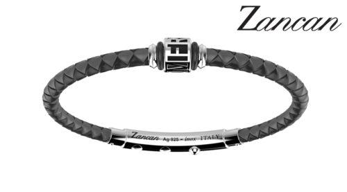 Bracciale Zancan da uomo in argento TSB006-09 e silicone nero intrecciato, con chiusura in acciaio 316L.